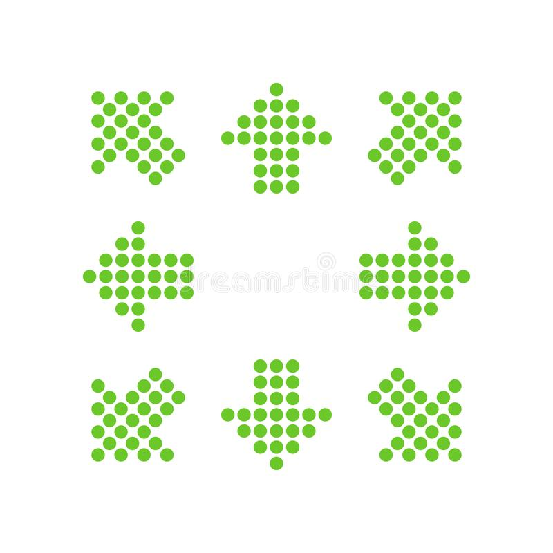 Green points in the shape of arrows in 8/eight different directions. Vector illustration, EPS10 vector illustration
