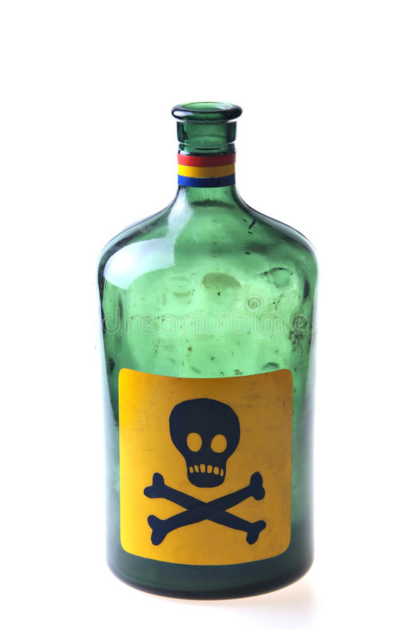 Green poison bottle stock photography
