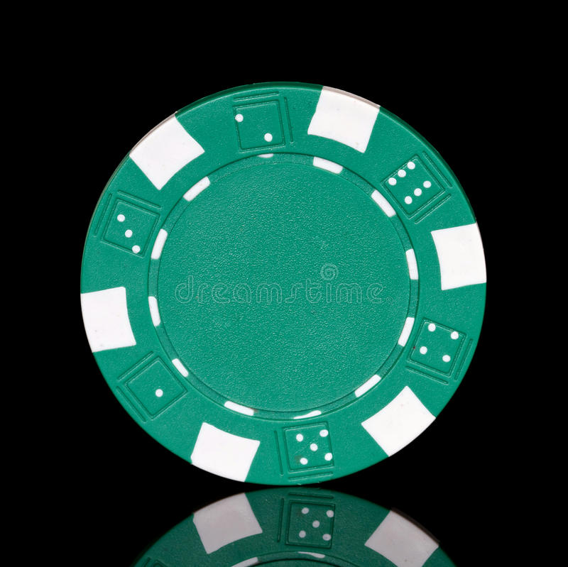 Green poker chip royalty free stock images