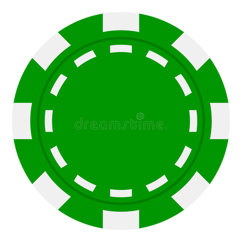 Green Poker Chip Flat Icon Isolated on White. Green poker chip flat icon, isolated on white background. Eps file available royalty free illustration