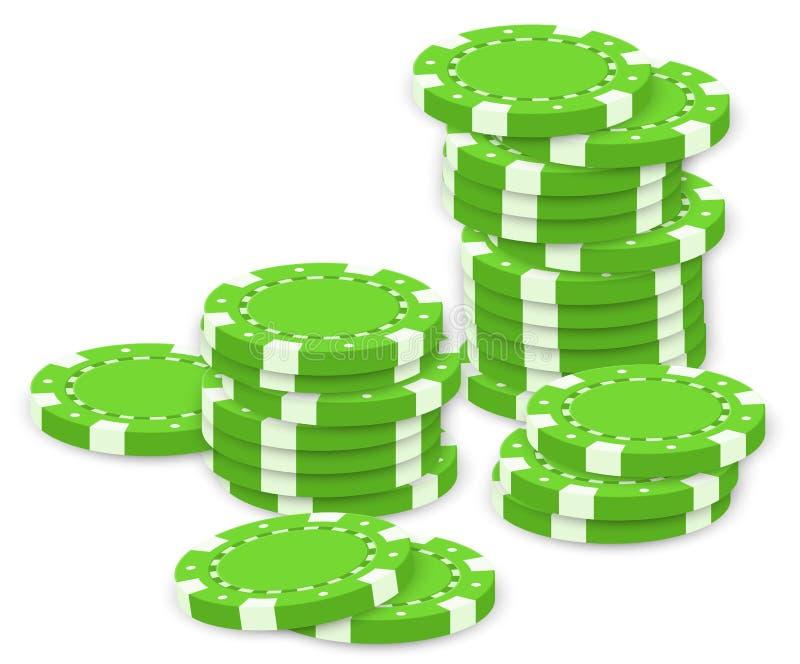 Green poker chips stock illustration