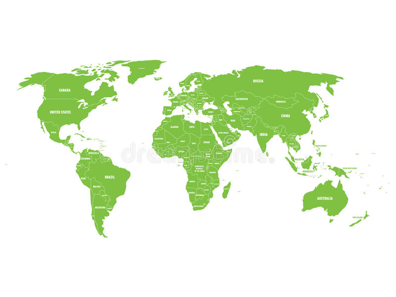 Green political world map with country borders and white state name download green political world map with country borders and white state name labels stock vector gumiabroncs Image collections