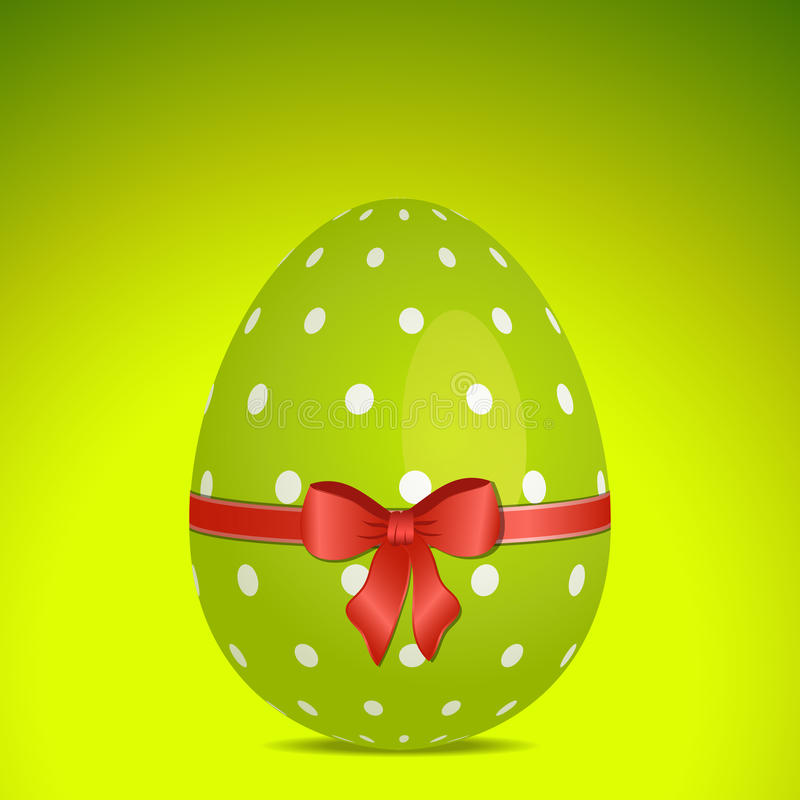 Green polka dot easter egg. Green Easter egg background, with white polka dots, ribbon and bow royalty free illustration