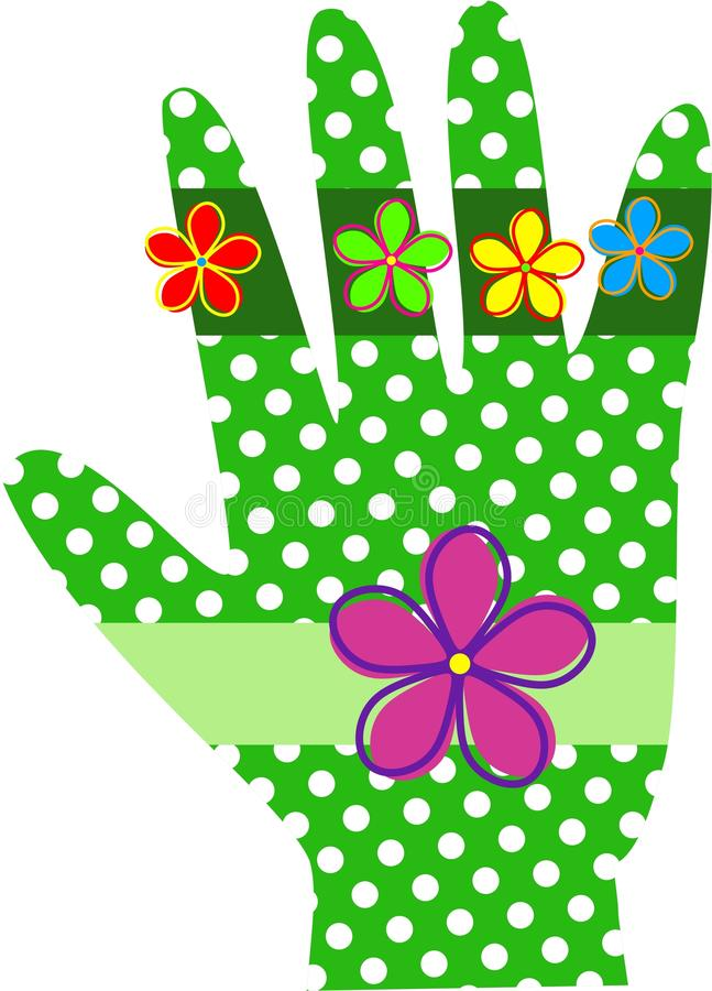Green Polka Dot Hand. A whimsical hand designed with green polka dots and retro flowers royalty free illustration