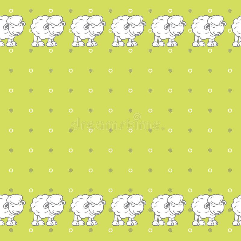 Green polka dots background with cute baby sheeps stock image