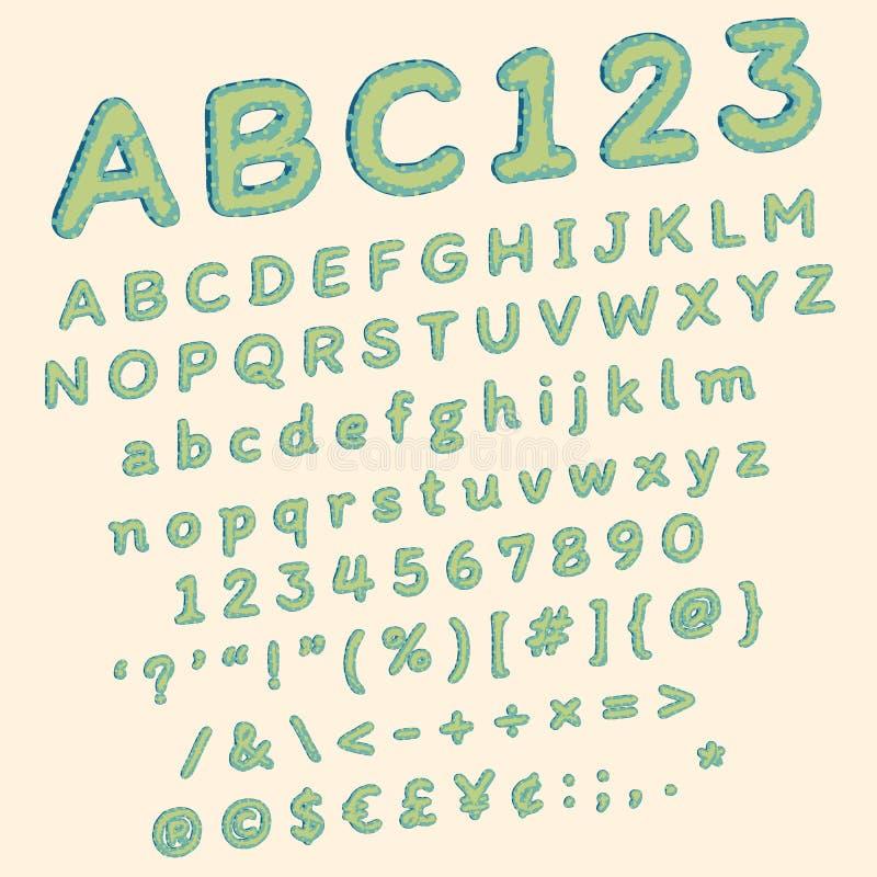 Green polka dots comic font for funny pop art illustration. Green polka dots comic font for funny vector pop art illustration in stylized retro style stock illustration