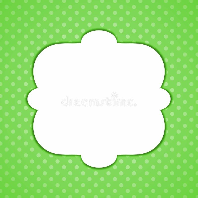 Green Polka Dots Frame. Greeting card with green polka dots background vector illustration