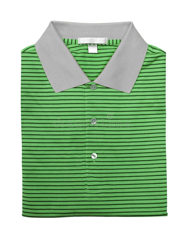 Green polo shirt isolated on white royalty free stock photography
