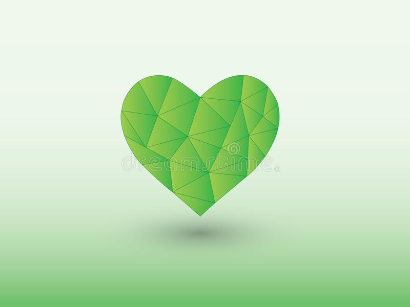 Green polygon heart shape of making love with shadow on light background. Vector illustration royalty free illustration