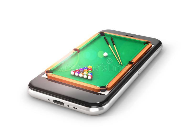 Green pool table with balls and cue. Smartphone. 3d illustration vector illustration