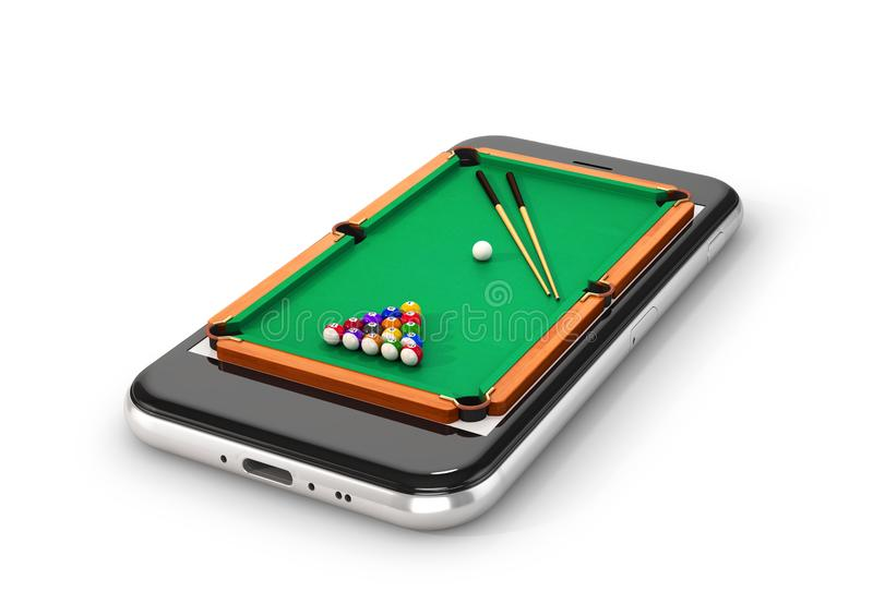 Green pool table with balls and cue. Smartphone. 3d illustration royalty free illustration