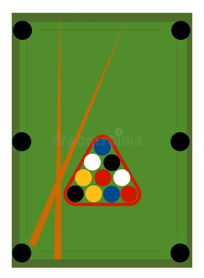 Green pool table, illustration, vector. On white background royalty free illustration