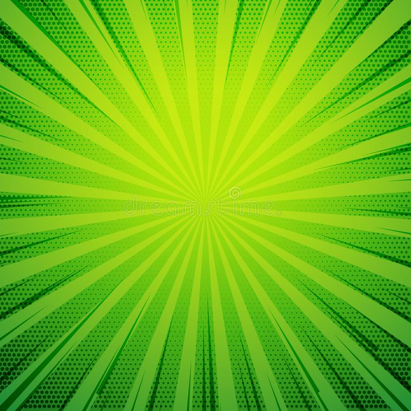 green pop art comic book style retro background with exploding r royalty free illustration