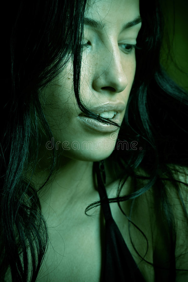 Download Green portrait stock image. Image of face, sensual, dark - 3338767