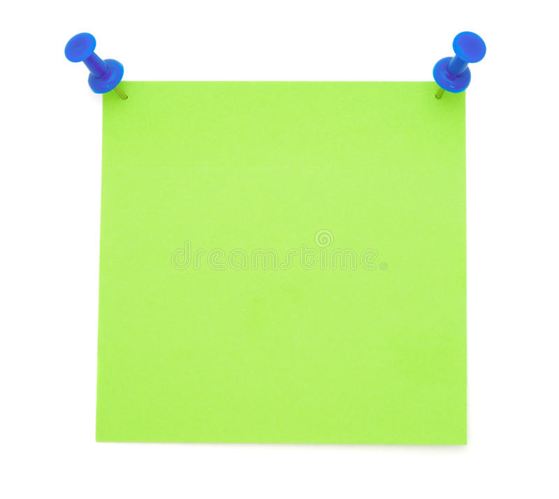 Green Post-it Note. With Pushpins isolated on white background royalty free stock photos