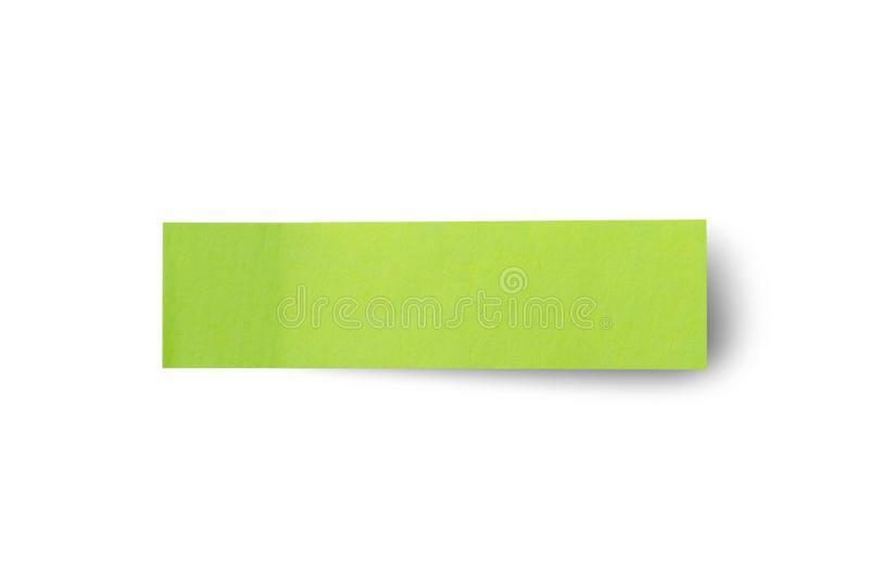 Green post note paper sticker isolated on white. Background stock photography