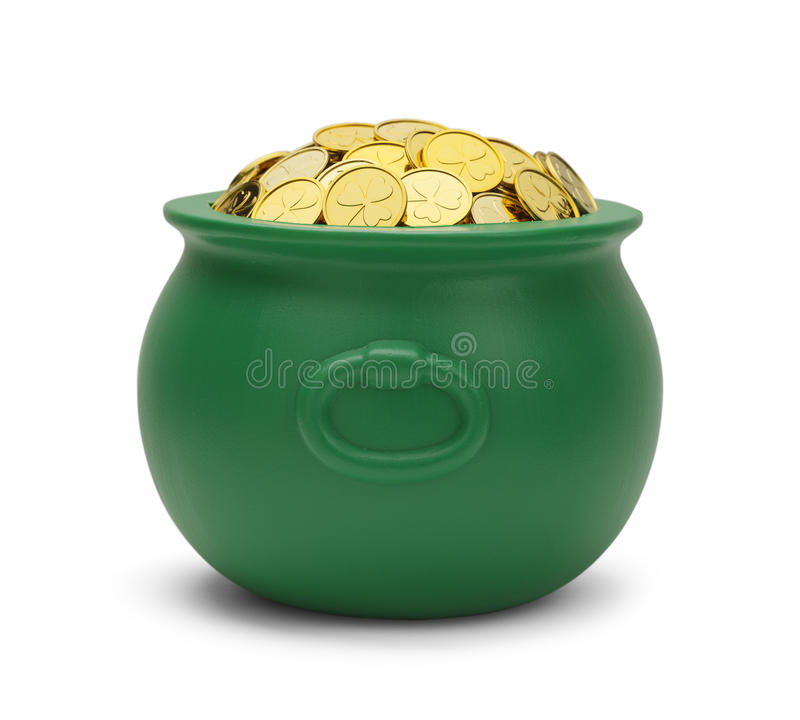 Green Pot of Gold. Large Green Pot with Colver Gold Coins Isolated on White Background stock photos