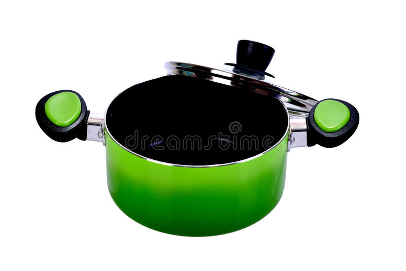 The green pot on white background royalty free stock photo