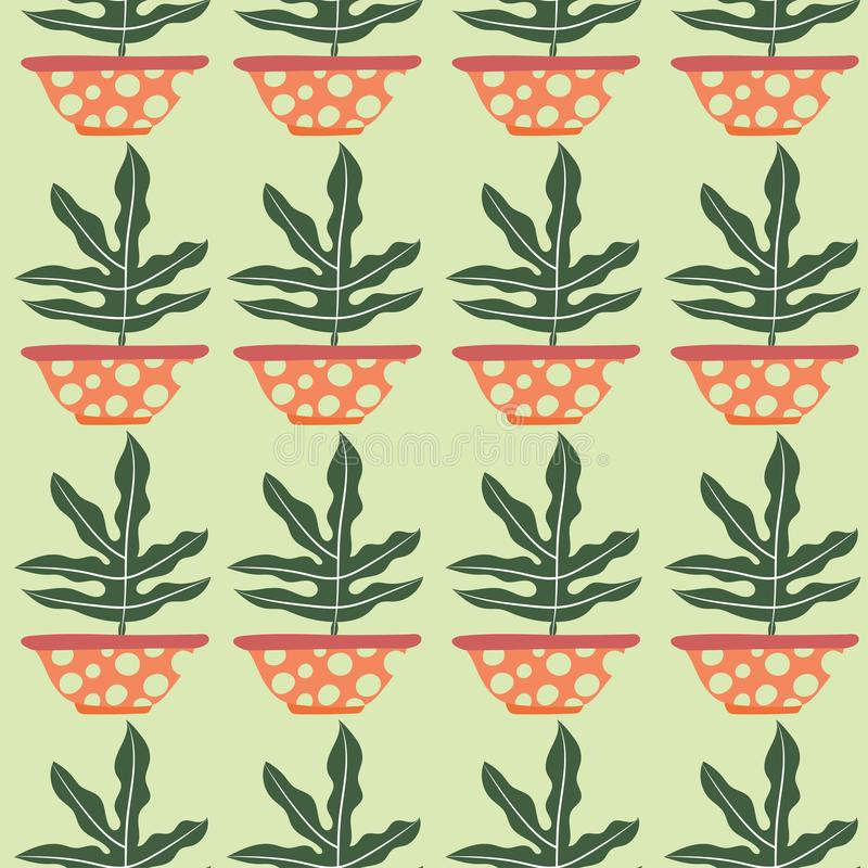 Green potted plant seamless pattern 库存例证