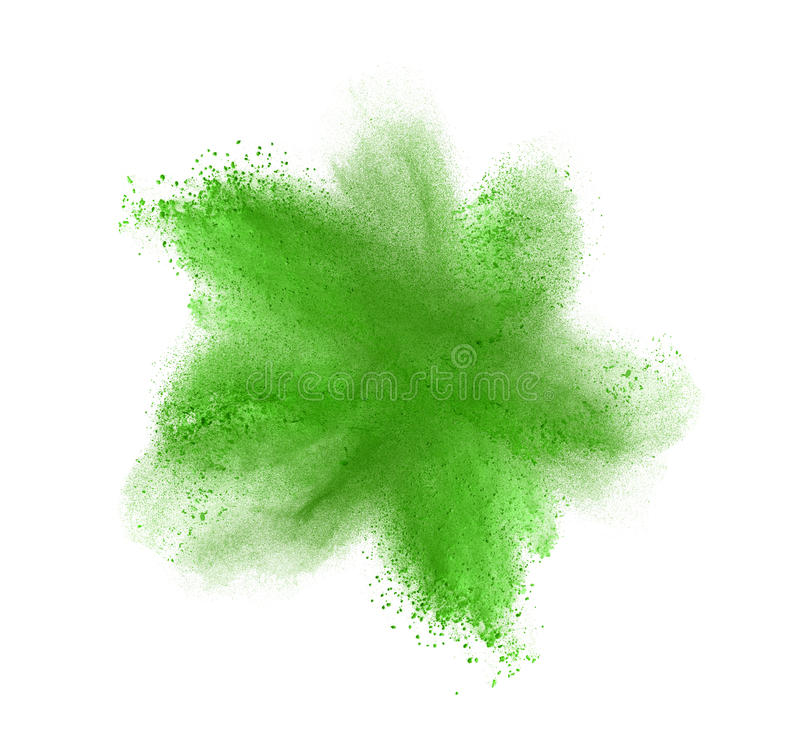 Green powder explosion isolated on white royalty free stock photography