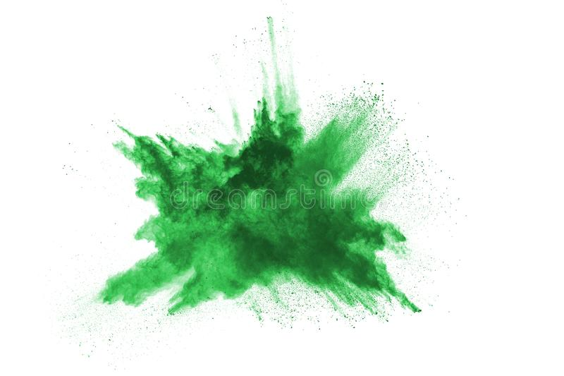 Green powder explosion on white background. stock images