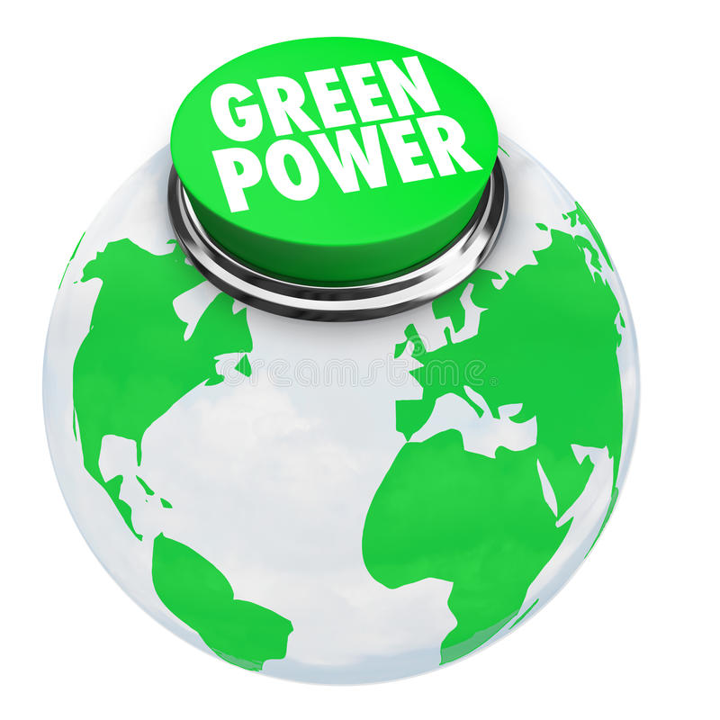 Green Power - Earth Button stock illustration