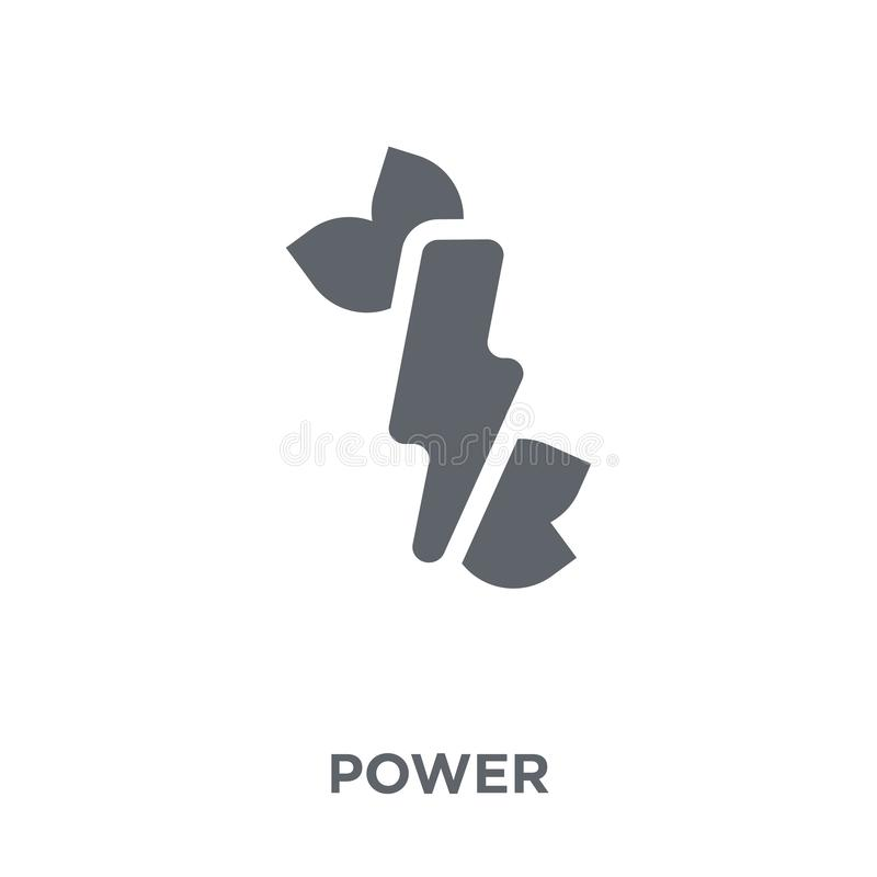 Green power icon from Ecology collection. Green power icon. Green power design concept from Ecology collection. Simple element vector illustration on white stock illustration