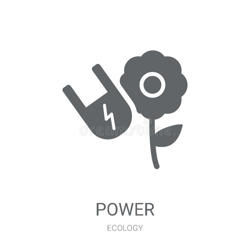 Green power icon. Trendy Green power logo concept on white background from Ecology collection. Suitable for use on web apps, mobile apps and print media stock illustration