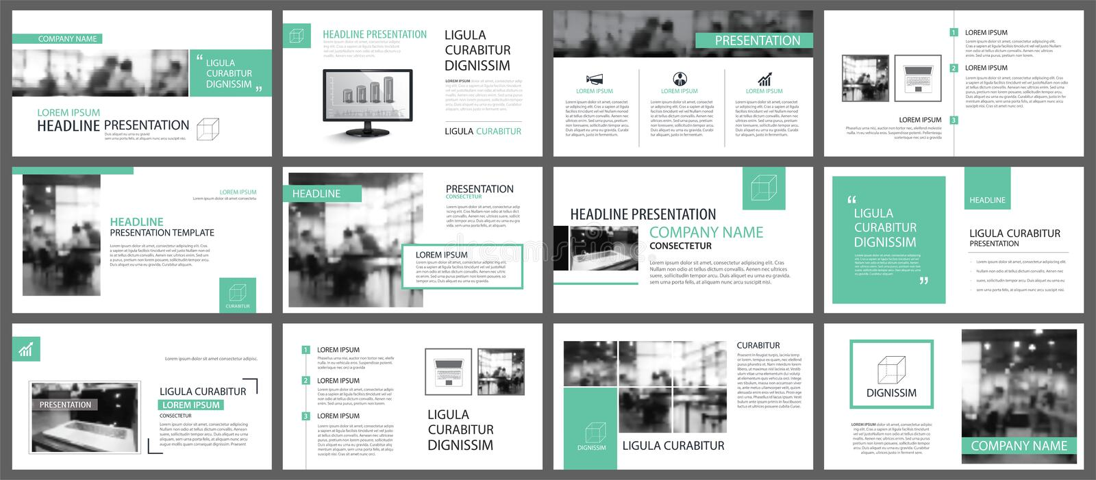 Green presentation templates for slide infographics elements background. Use for business annual report, flyer design, corporate vector illustration
