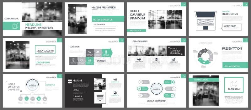 Green presentation templates for slide infographics elements background. Use for business annual report, flyer design, corporate. Marketing, leaflet royalty free illustration