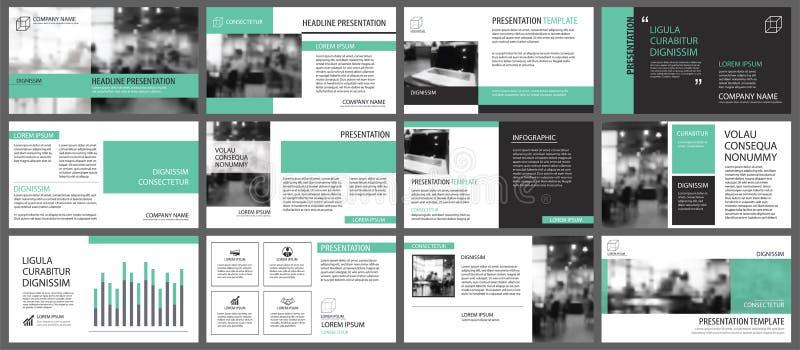Green presentation templates for slide infographics elements background. Use for business annual report, flyer design, corporate. Marketing, leaflet vector illustration