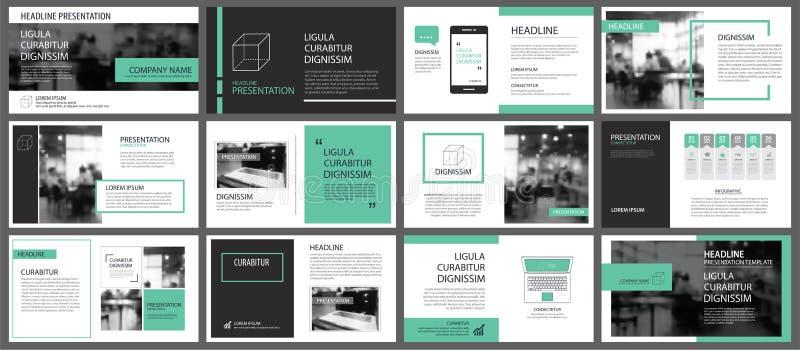 Green presentation templates for slide infographics elements background. Use for business annual report, flyer design, corporate. Marketing, leaflet stock illustration
