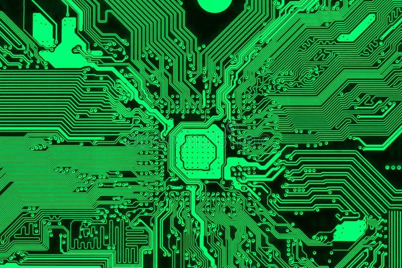 Green printed circuit board, modern PCB design stock photo