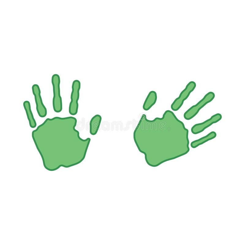 Green prints of the right and left hand. Vector illustration vector illustration