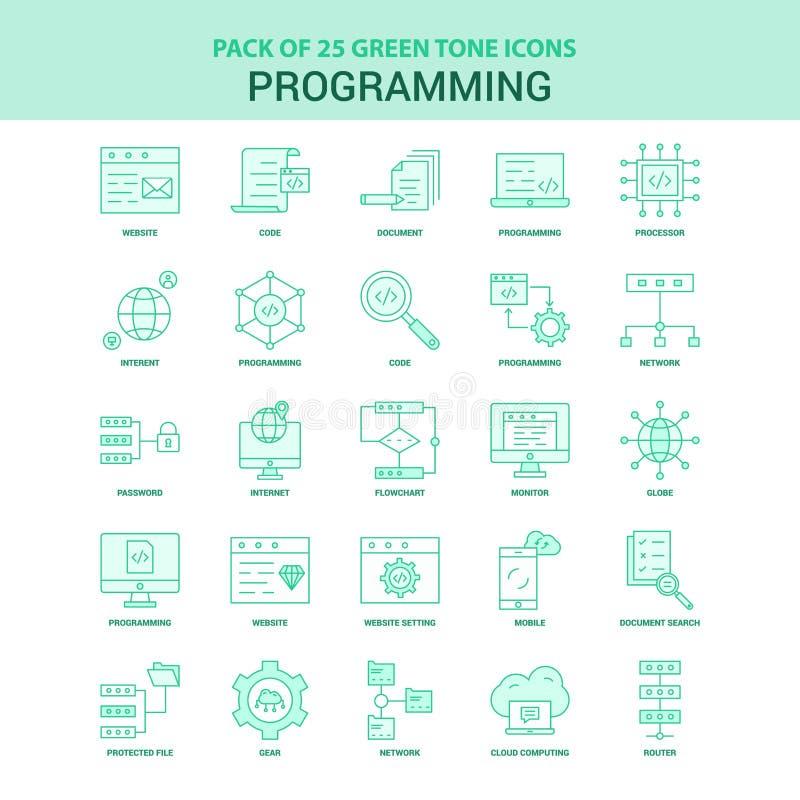 25 Green Programming Icon set royalty free illustration