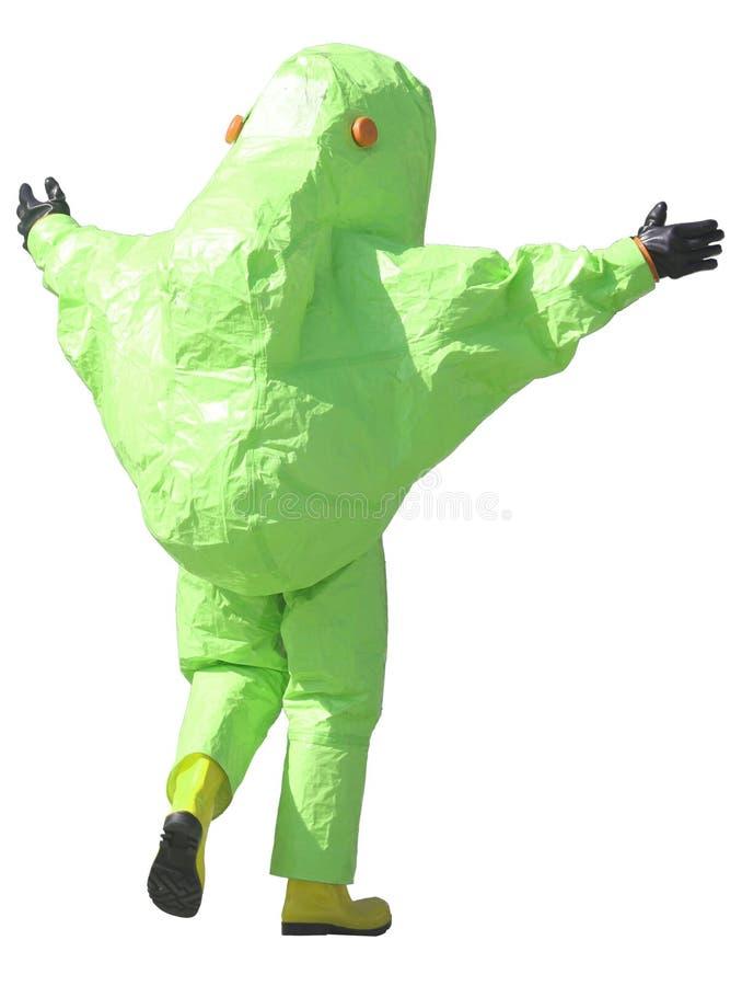 Green protective suit to manage hazardous materials. Person with green protective suit to manage hazardous materials stock image