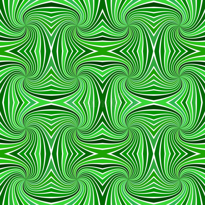 Green psychedelic abstract seamless striped spiral pattern background design from swirling rays vector illustration