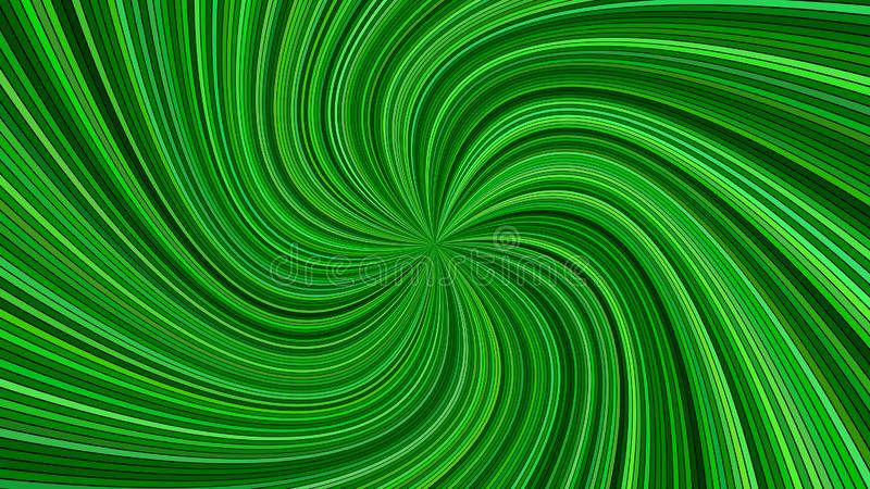 Green psychedelic abstract spiral stripe background - vector curved burst design stock illustration