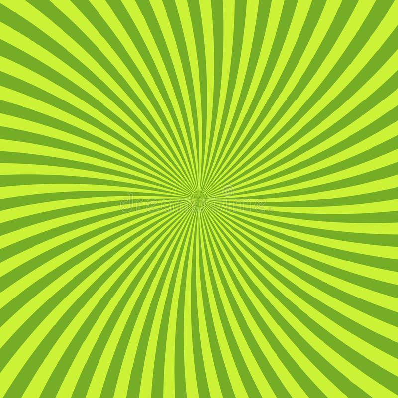 Green psychedelic background with rays, lines or stripes converging in center. Square decorative backdrop with radiant. Optical illusion or hypnotic effect stock illustration