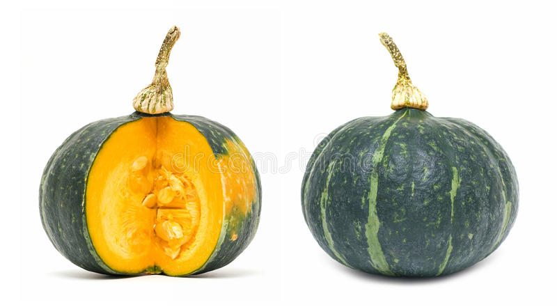Green pumpkin. Isolated on white background royalty free stock photo