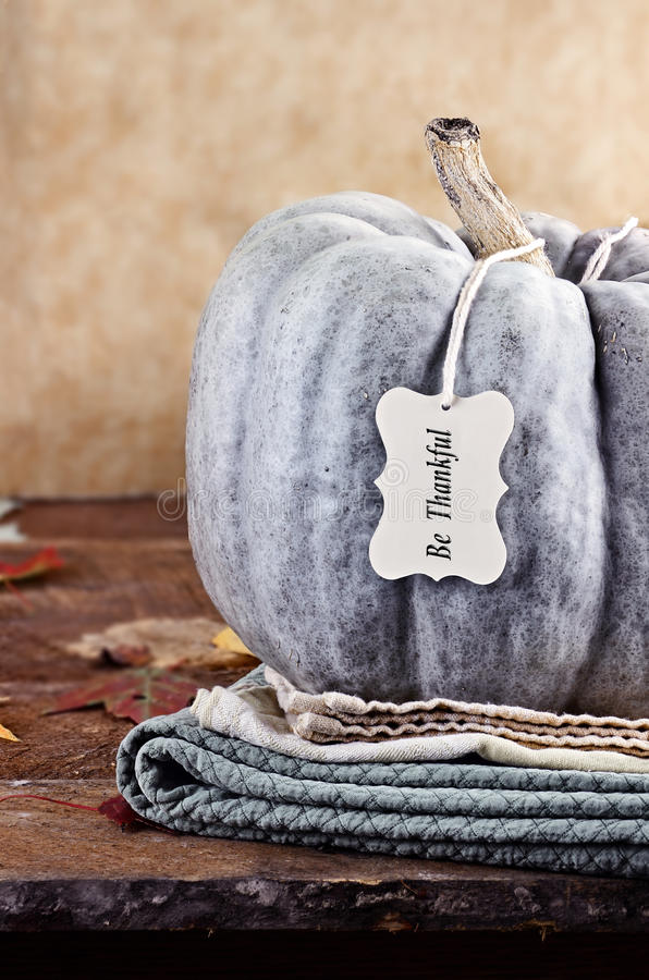 Green Pumpkin with Tag. Thanksgiving holiday, green pumpkin still life decoration with with Be Thankful greeting card. Extreme shallow depth of field royalty free stock image