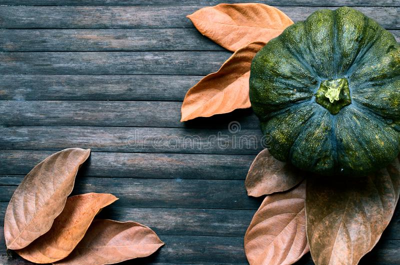 Green pumpkin and yellow leaves moody toned photo. Golden autumn harvest banner template. Dry leaf and squash ornament on wooden table. Rustic flat lay with stock photo