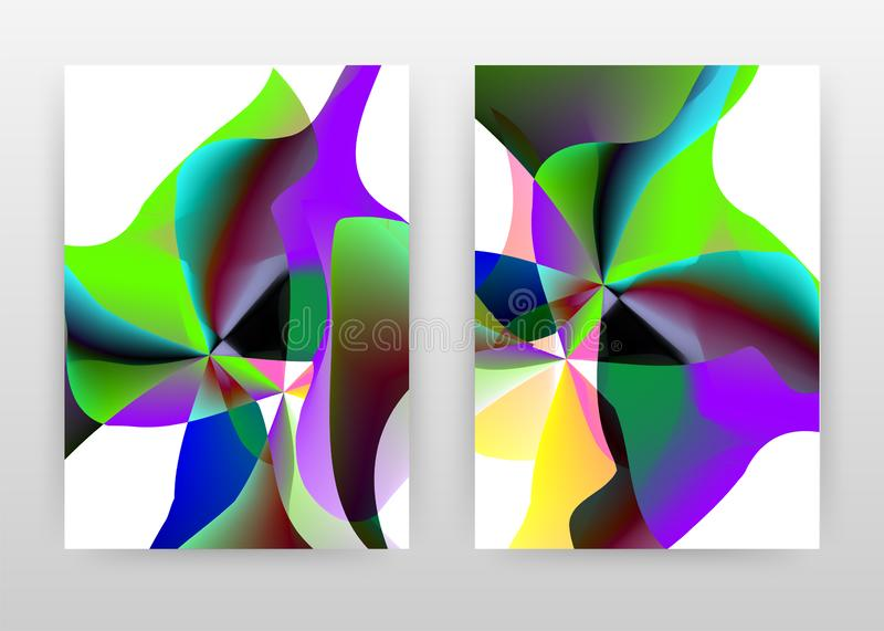 Green purple blue concept abstract design of annual report, brochure, flyer, poster. Colorful abstract white background vector stock illustration
