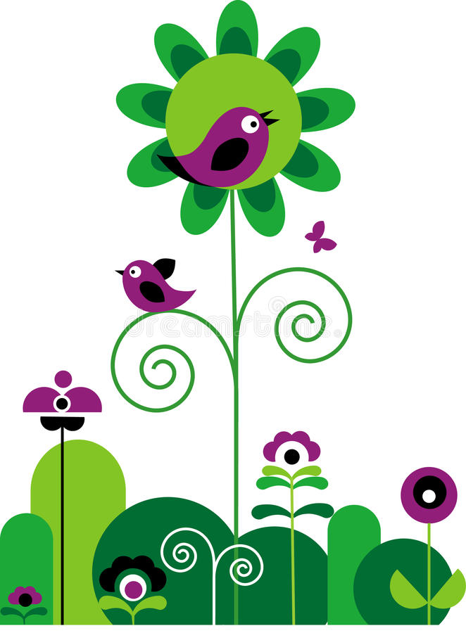 Green and purple flowers with butterfly and birds stock illustration