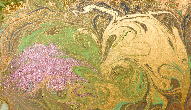 Green, purple and golden liquid texture. Hand drawn marbling background. Ink marble abstract pattern royalty free illustration