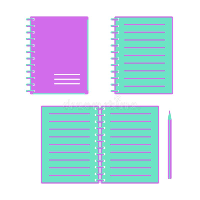 Green and purple note pads open and closed on a white background stock illustration