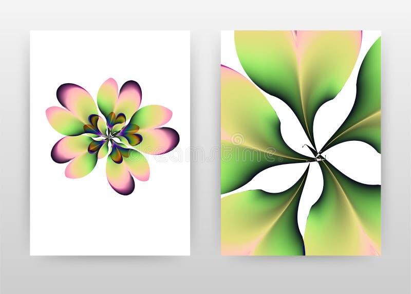 Green purple pink flower petal concept design of annual report, brochure, flyer, poster. green flower concept background vector. Illustration for flyer, leaflet stock illustration