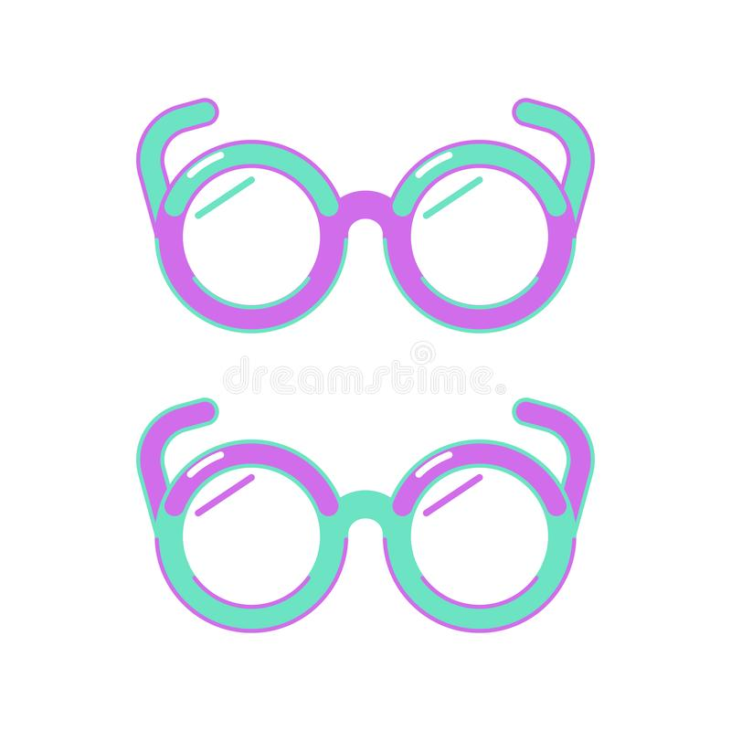 Green and purple round glasses on a white background. Flat style icon. Vector illustration vector illustration