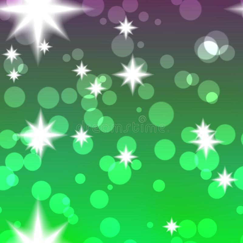 Green and purple texture with circle. And stars royalty free illustration