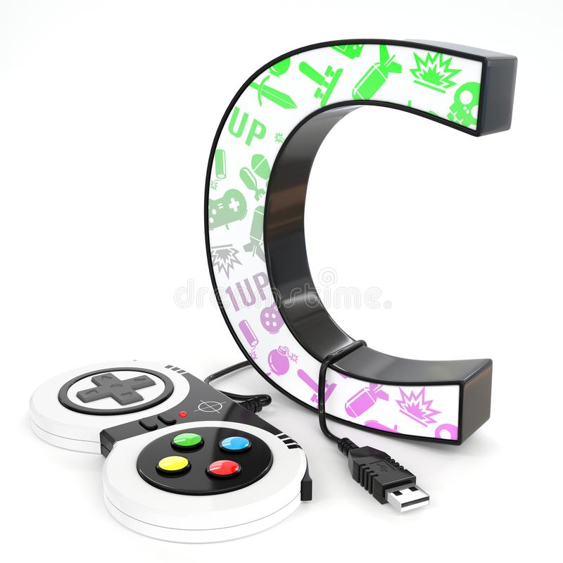 `C` 3d letter with video game controller. Green and purple video game icons painted over `C` 3d letter with video game controller vector illustration